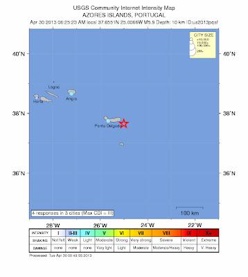 Epicentro sísmo 5,9 grados en islas Azores, 30 de Abril de 2013