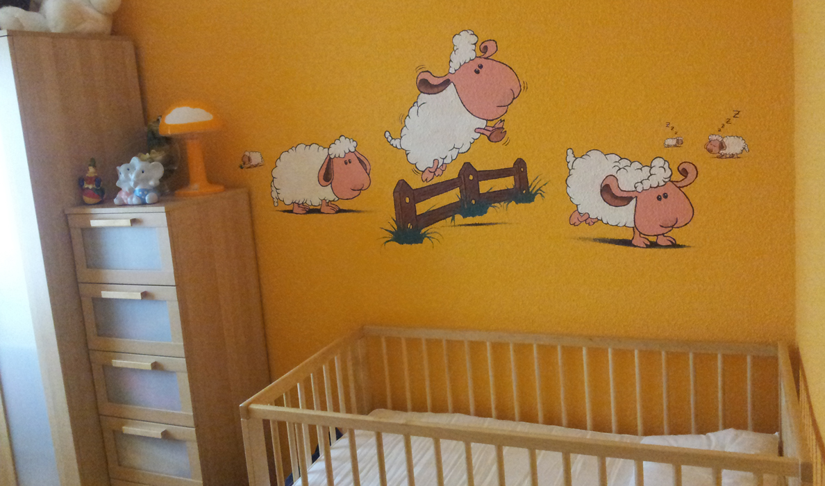 Decoración infantil con pintura sobre pared