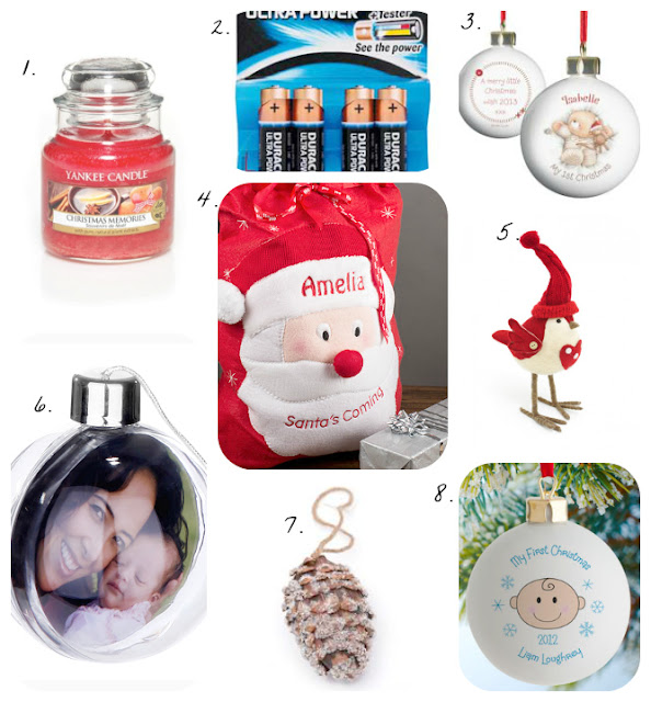 bauble, personalised bauble, my first christmas bauble, personalised santa sack, yankee candles christmas, duracell ultra power, christmas decorations,