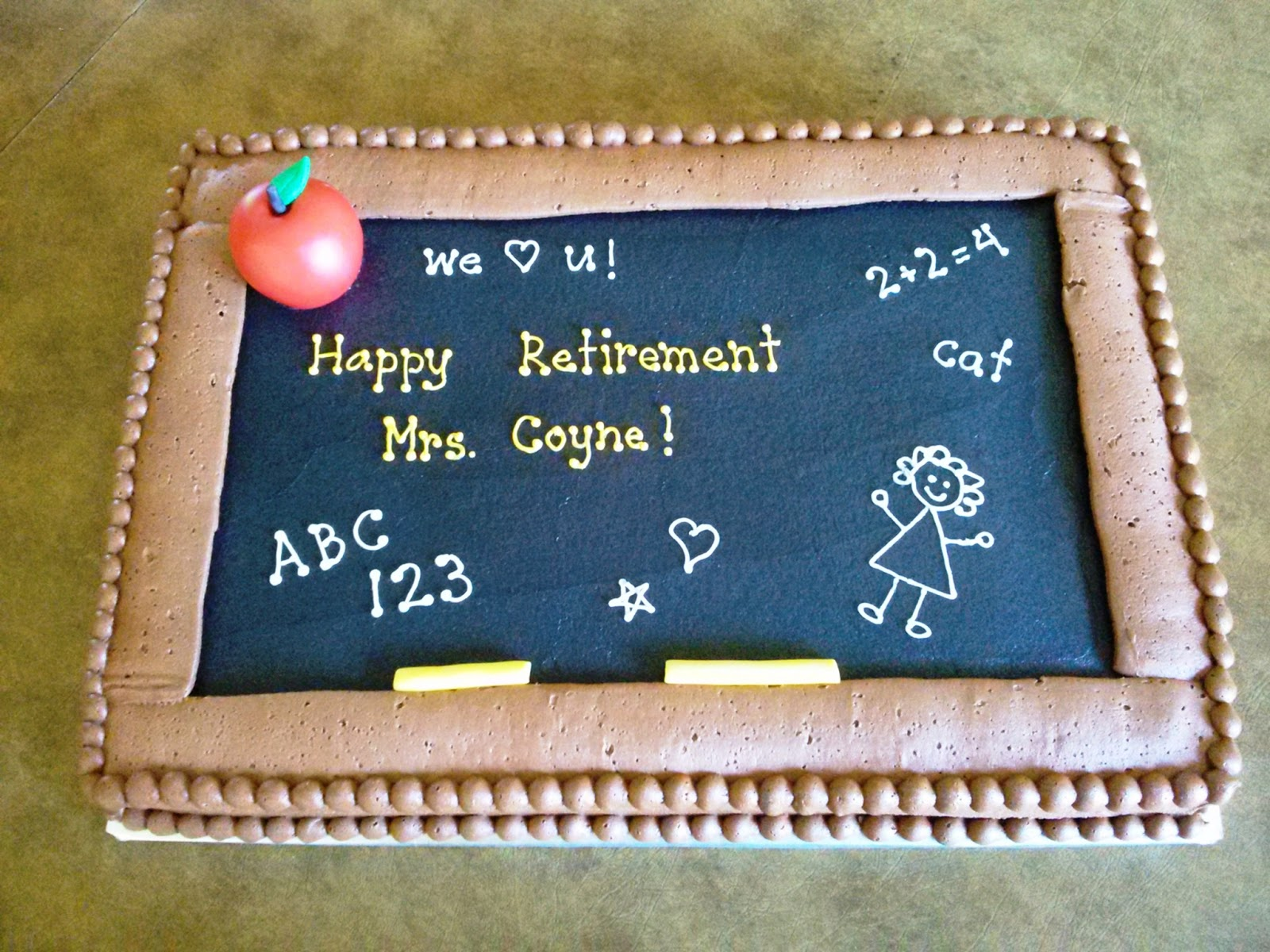 Retirement Cake Designs For Teachers : Simply Sweet: Teacher Retirement Cake