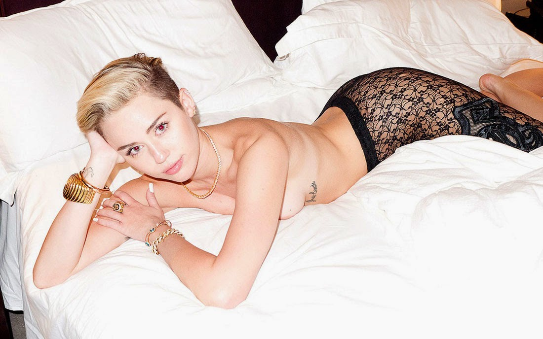 Hot Miley Cyrus Topless Wallpaper