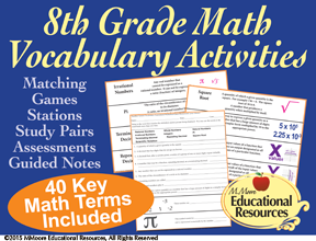 https://www.teacherspayteachers.com/Product/8th-Grade-Math-Vocabulary-Activities-2230418