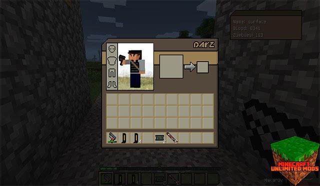 DayZ mod Minecraft inventario