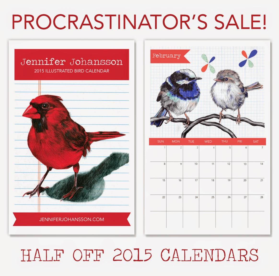 Half Off 2015 Bird Calendars - jenniferjohansson.etsy.com