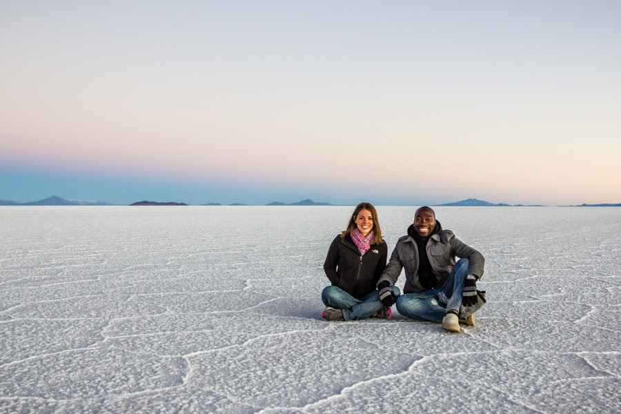 Bolivia salt flats at sunrise