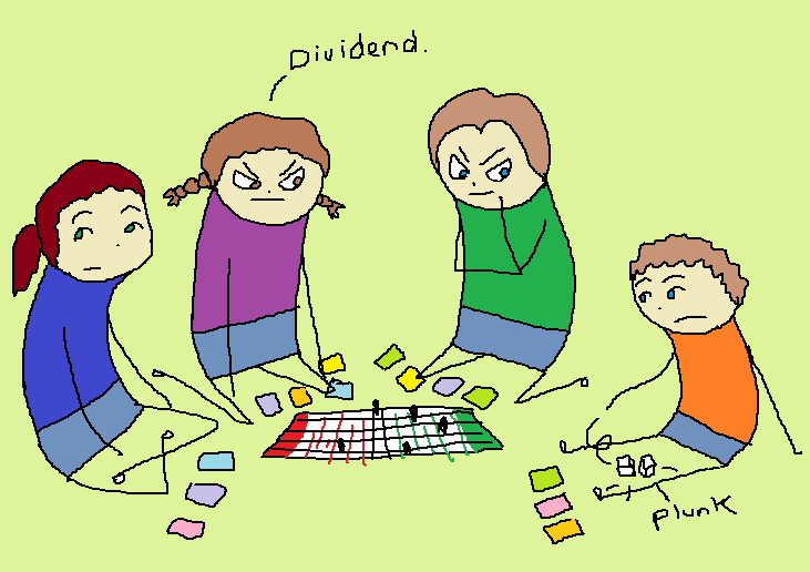 "The younger boy rolls the dice and I read what it says: ""Dividend"""