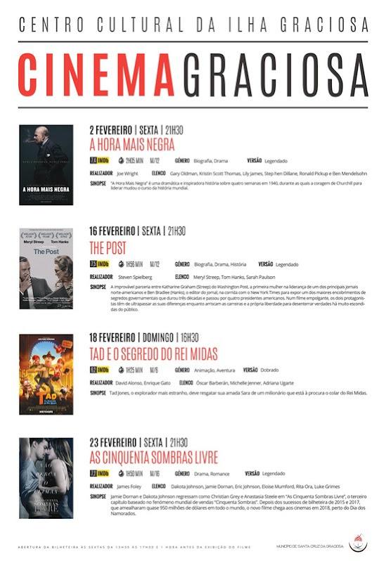Cartaz Cinema Fevereiro 2018