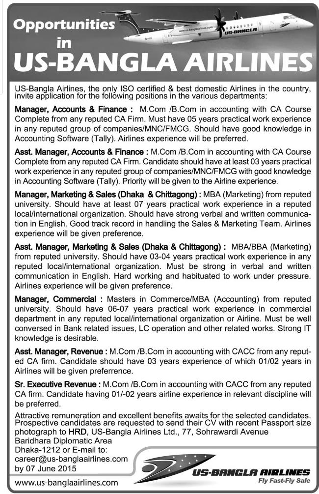 Organization: US-Bangla Airlines, Post: Manager, Asst. Manager and more