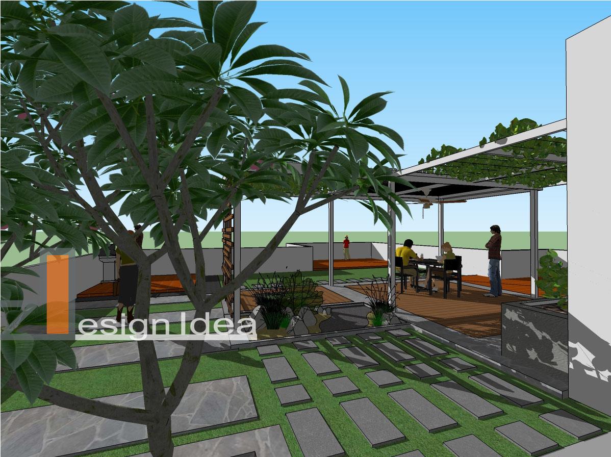 Tropical Outdoor Living RoofTop Garden Bungalow House
