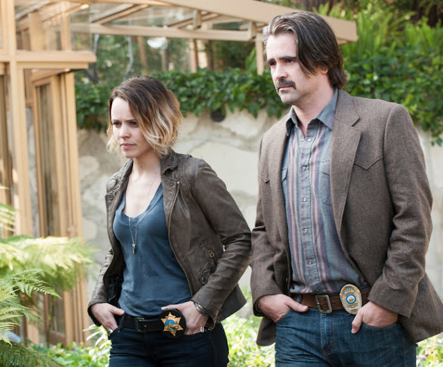 "Rachel McAdams and Colin Farrell in ""True Detective"""