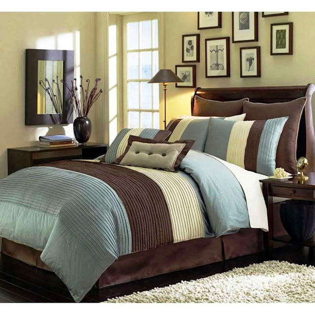 brown bedroom textiles, bed pillows, bedroom furniture