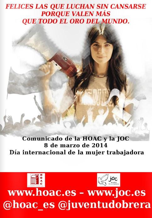 Comunicado de la HOAC ante el 8 de marzo, día de la mujer.