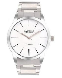 Laurels Analogue White Dial Men's Watch