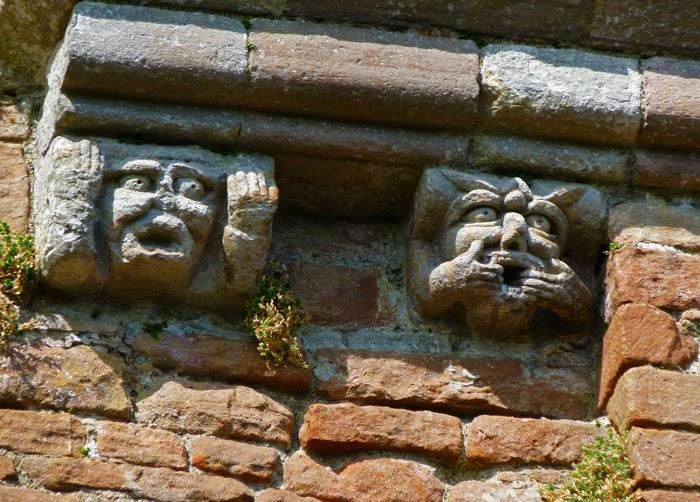 Brougham, gargoyles, medieval castles, Cumbria