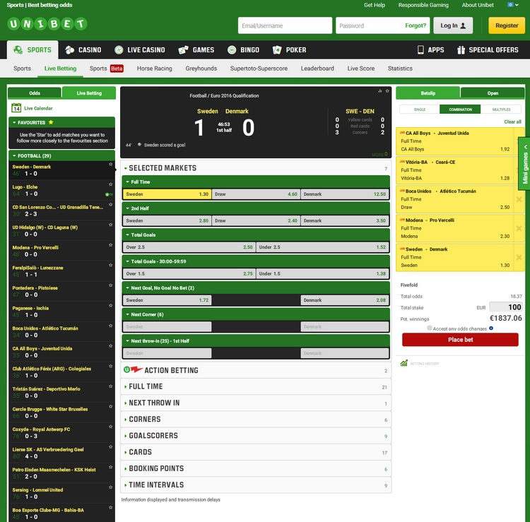Unibet Live Betting Offers
