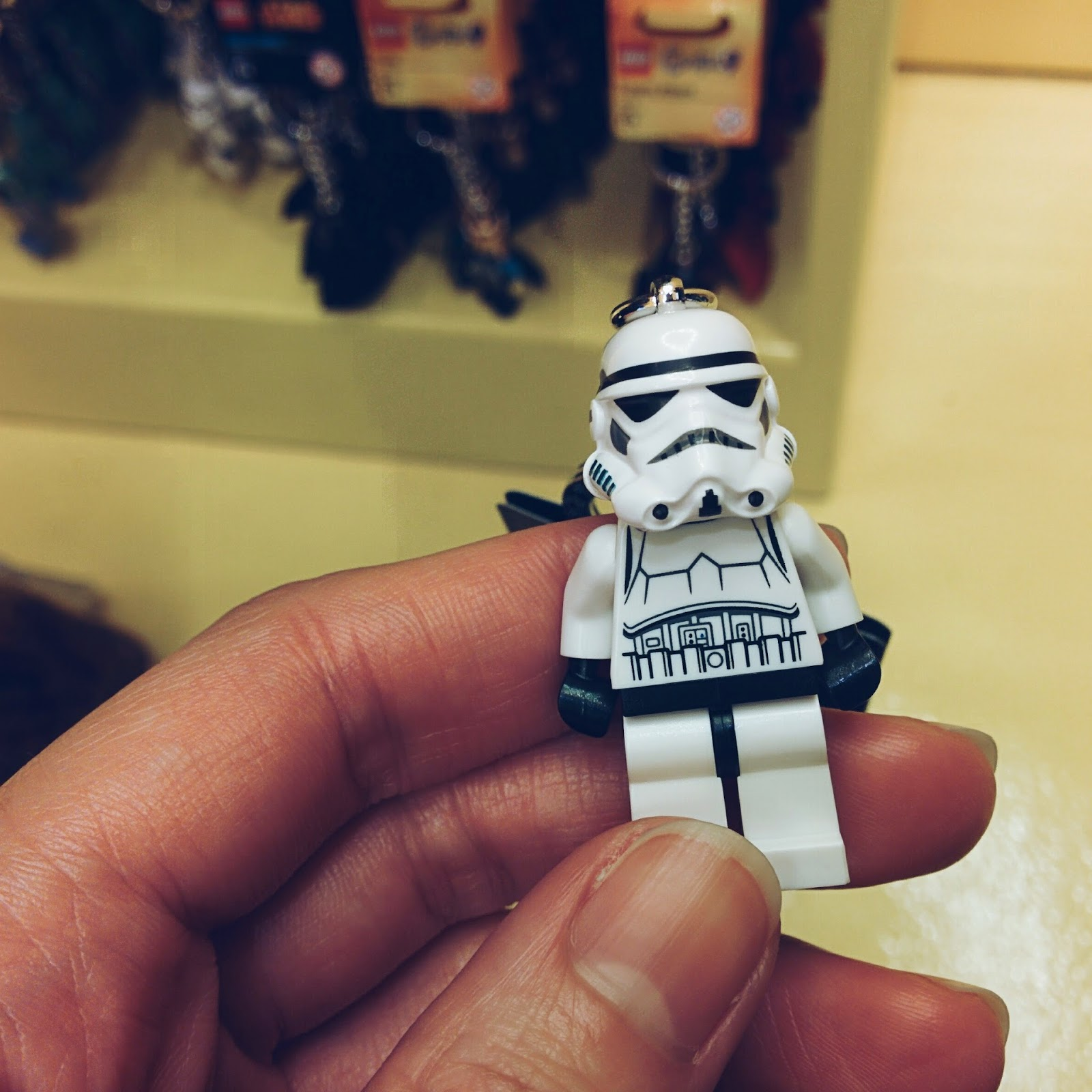 stormtrooper keychain at the lego store, yeah!