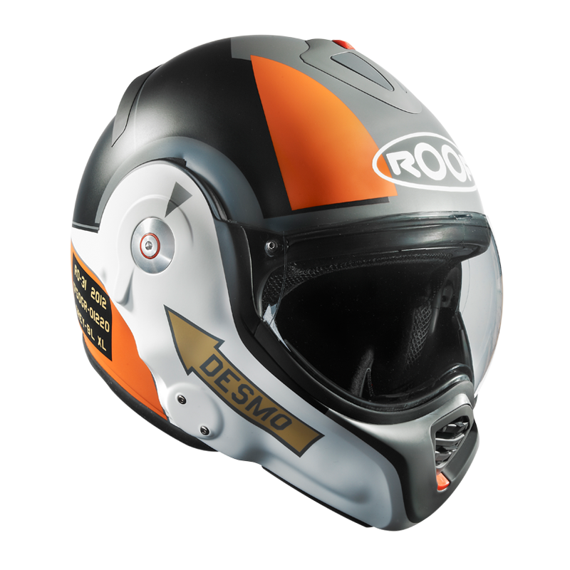 Roof Desmo helmet Roof Desmo motorcycle helmet Specification Roof Desmo helmet made of Fibreglass Composite shell Roof Desmo helmet features Double Density Shock absorbing liner Roof Desmo helmet Twin Desmo Cam Venturi Upper and Facial air Vents Roof Desmo helmet Dual Visor Seal Roof Desmo helmet 'Desmolock' Automatic Locking of the Chin Roof Desmo helmet Anti-Fog Visor Roof buckle chinstrap.