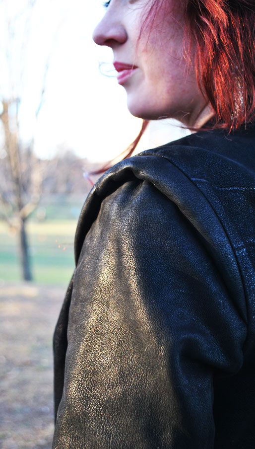 a style of your own blog, thrifted, H&M, black jacket, shoulder detail, prospect park,