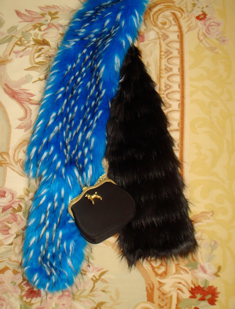 Faux fur scarf and mini bag.