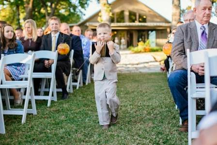 Ryan and Leslie, Processional, Texas Ranch Wedding, Ring Bearer