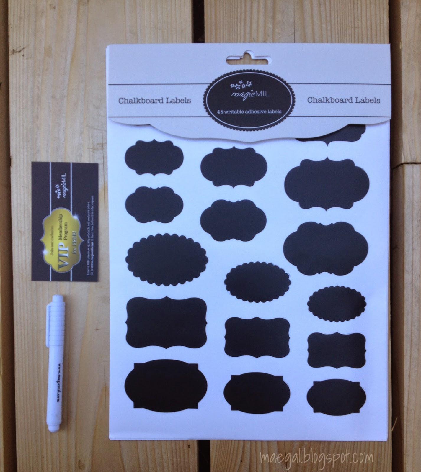 Magicmil Writable Adhesive Chalkboard Labels and Liquid Chalk Pen | maegal.blogspot.com
