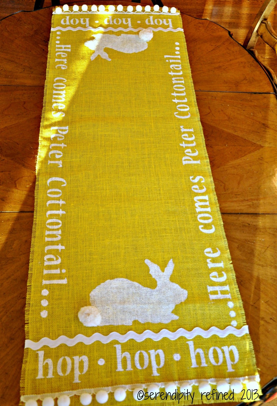 stenciled, kitchen runner table bunny, and runner table on burlap, my  table yellow yellow
