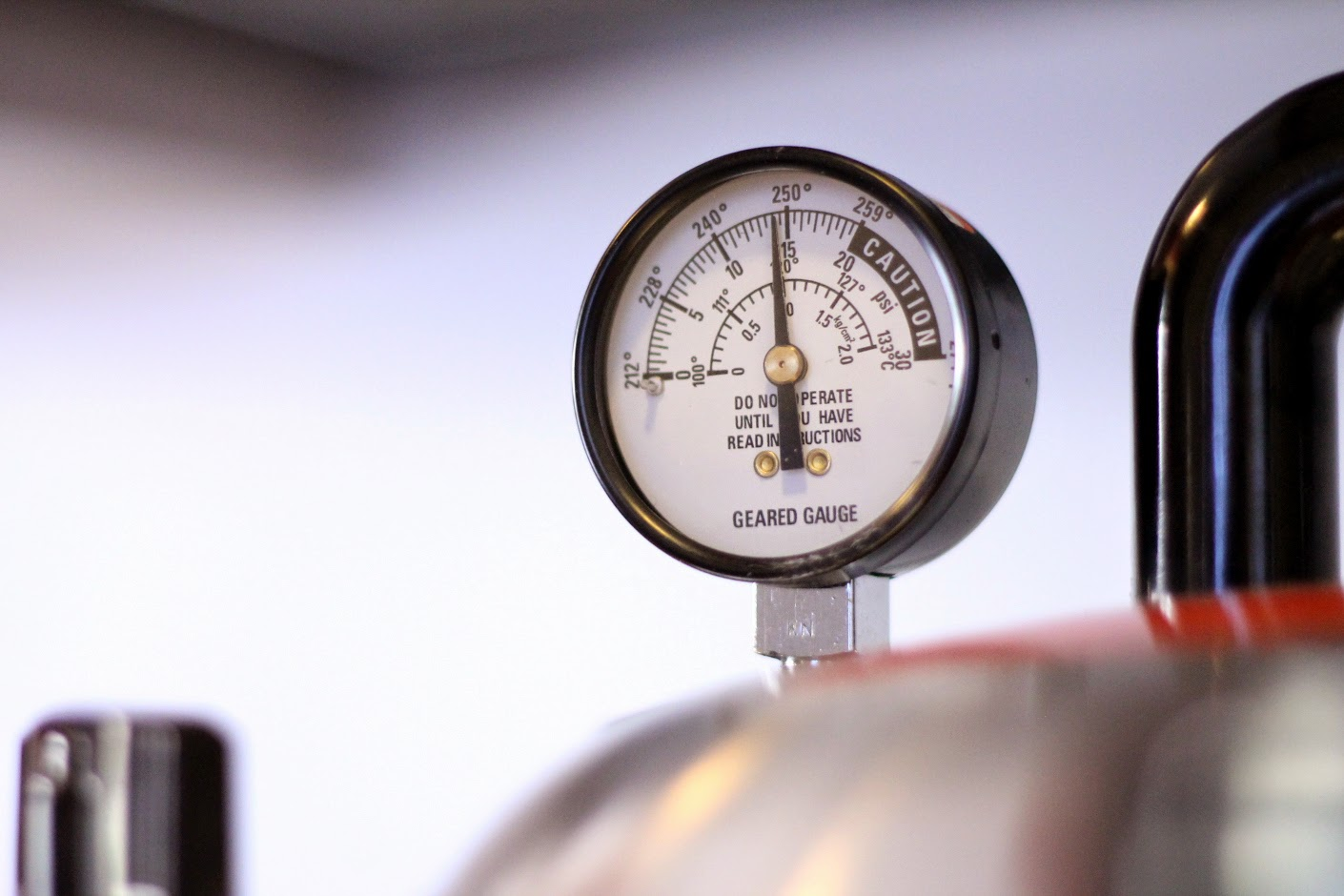 The pressure gauge, nearly to 15 PSI.