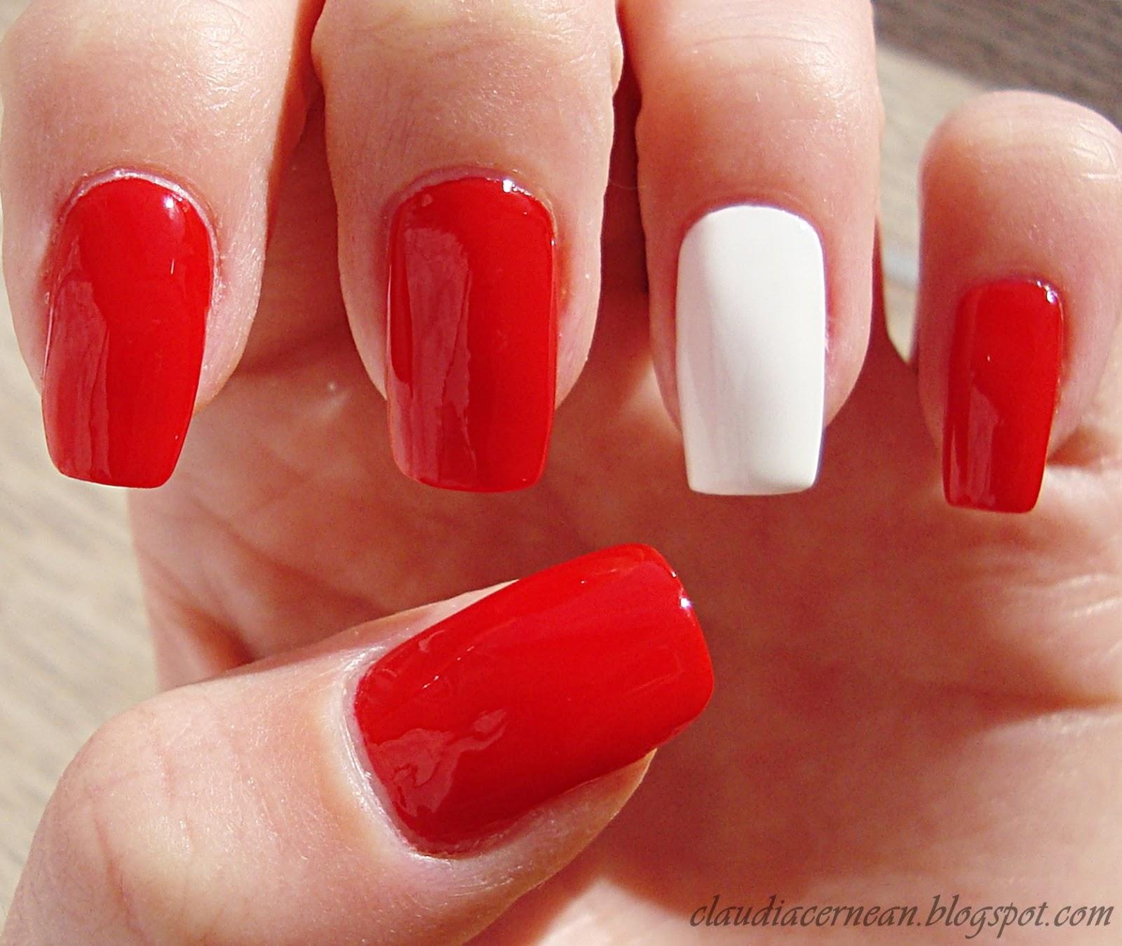 Red Nail Polish On Thumb: Nails Art Tutorials: Unghii Rosii Cu Inima