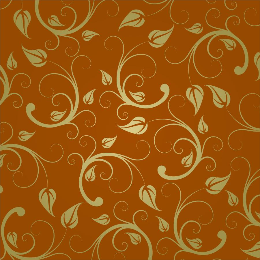 金色と茶色の落ち着いた植物柄背景 Abstract Floral Pattern イラスト素材