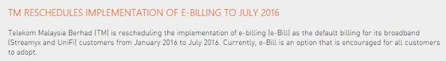 TM E- Billing Di Tangguhkan Sehingga Julai 2016