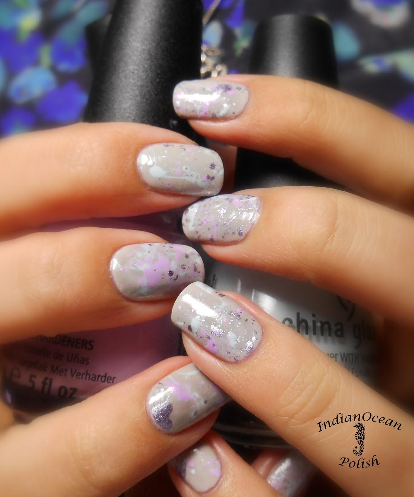 Indian Ocean Polish Colour Blocking Nails With Opi Fly: Indian Ocean Polish: Pastel Paint Splatter Nail Art Tutorial