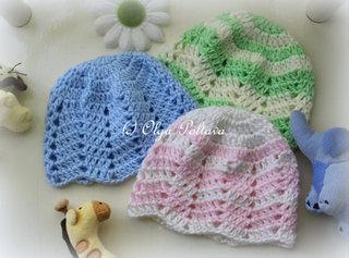 Ripple Baby Beanie Crochet Pattern, Size 0-3 Months, $2.35