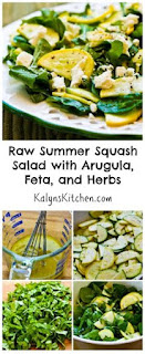 Raw Summer Squash Salad with Arugula, Feta, and Herbs [from KalynsKitchen.com]