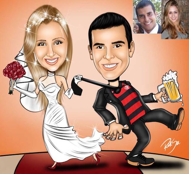 noiva puxando o noivo flamengista que adora um chop