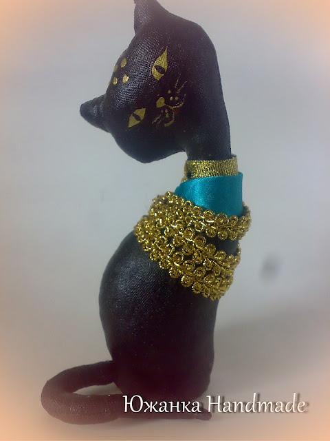 кофейная кошка статуэтка Египет покрашена акрилом