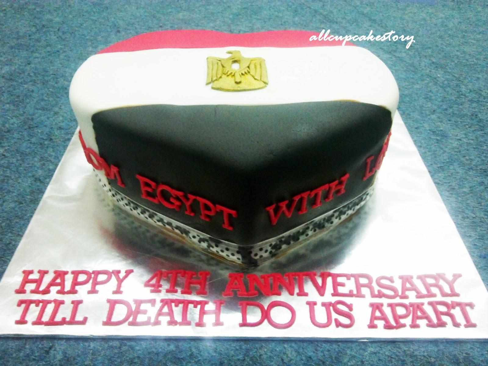 Allcupcakestory Egypt Flag With Love Cake