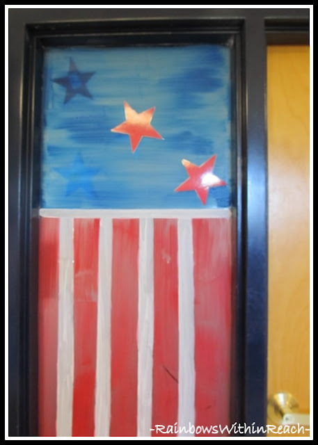 photo of: Classroom Window Painted with Patriotic Design