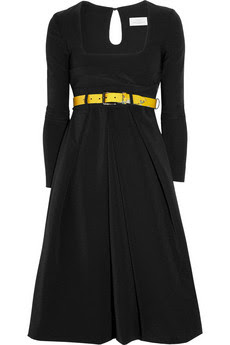 Vertigo belted stretch-crepe dress