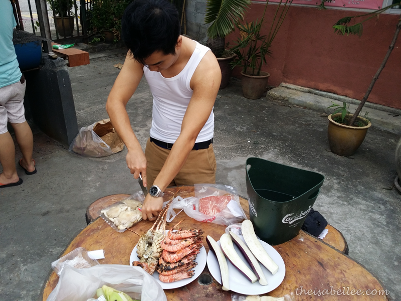 Preparing food for barbecue at Tropicana Ebi Fishing