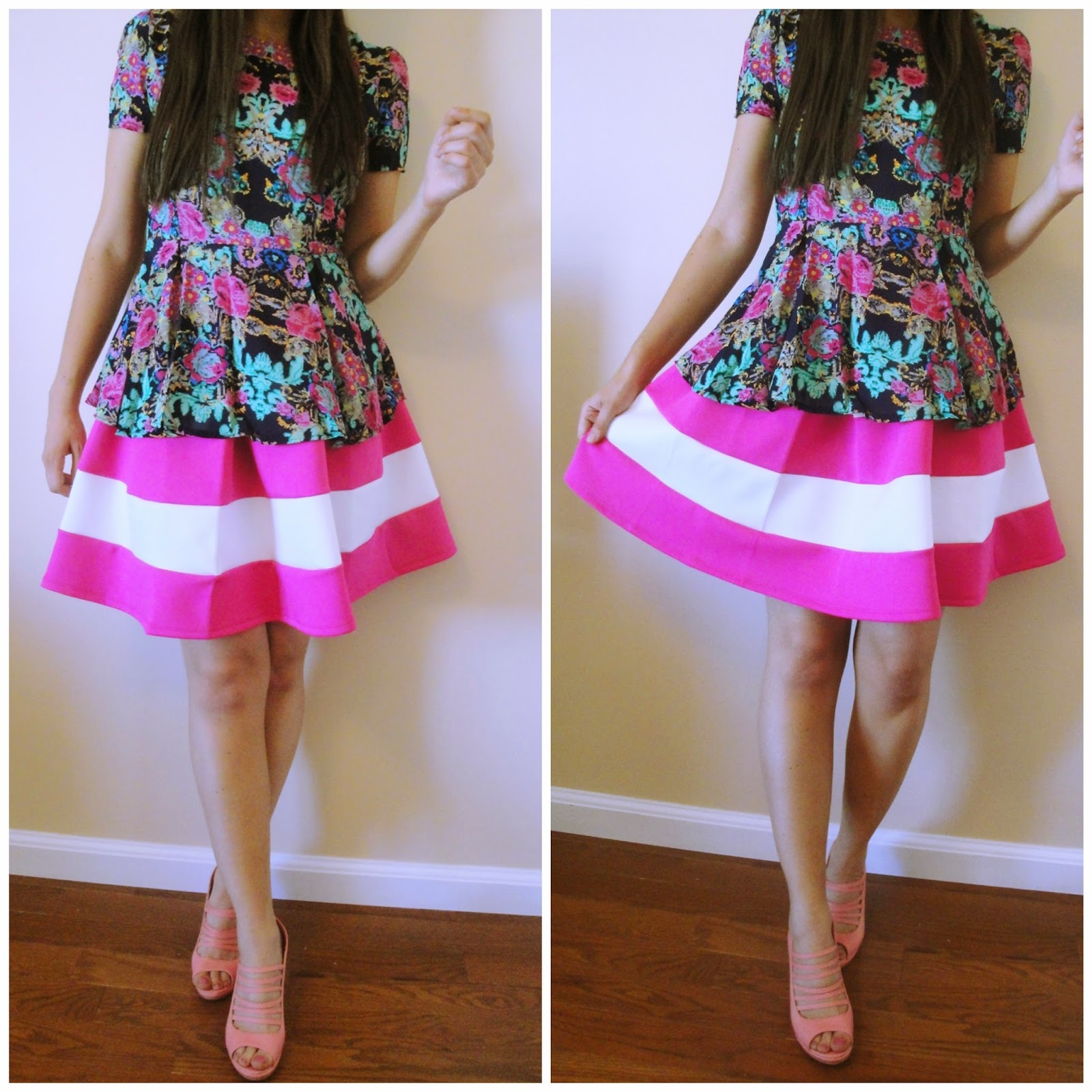 pink and white striped skirt, how to wear a pink striped skirt, floral peplum top, pink skirt, pink wedges, pink stap wedges, pink and floral outfit,