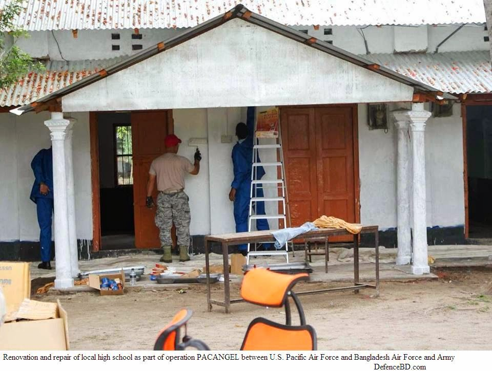 Renovation and repair of local high school as part of operation PACANGEL between U.S. Pacific Air Force and Bangladesh Air Force and Army.