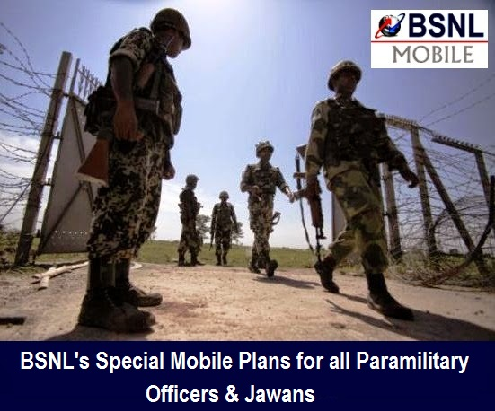 BSNL's Special Mobile Plans with Free Calls and Free 3G/2G Data for all Paramilitary Officers and Jawans across India