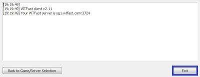 Tampilan Log pada WTFast