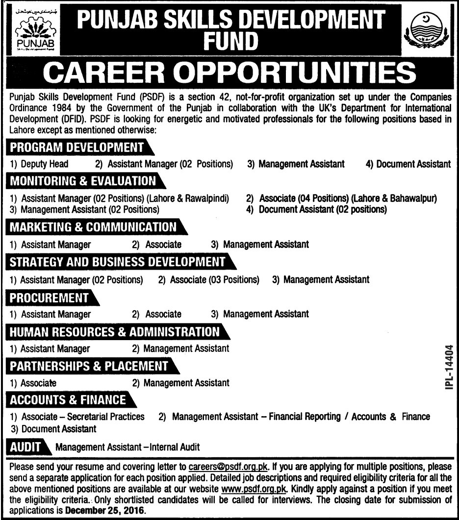 jobs in govt jobs in punjab skills development fund dec  jobs in punjab skills development fund lahore