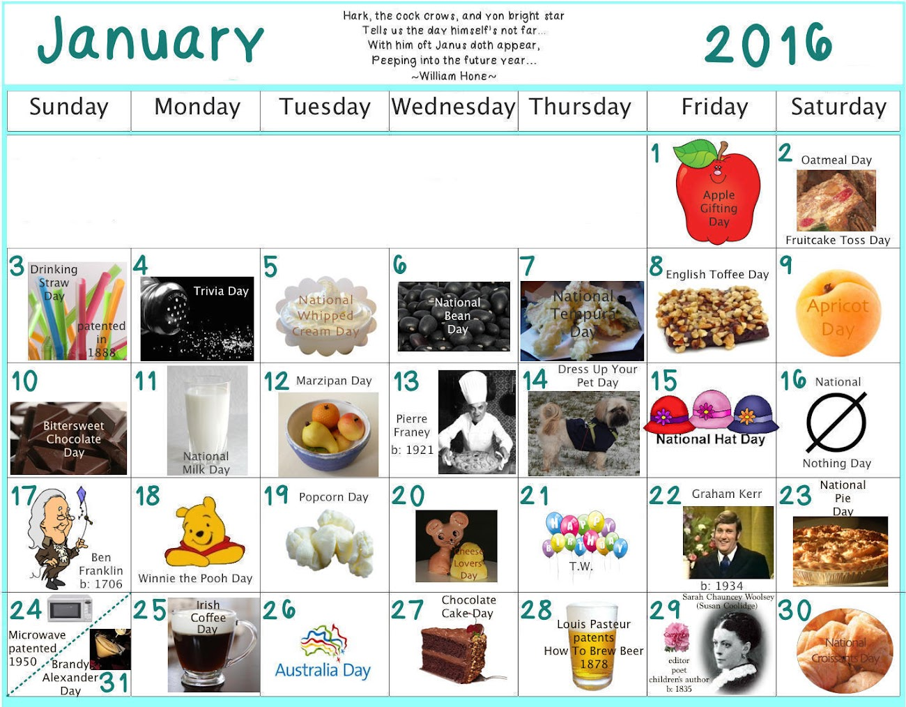 January 2016 Edible Celebrations Calendar