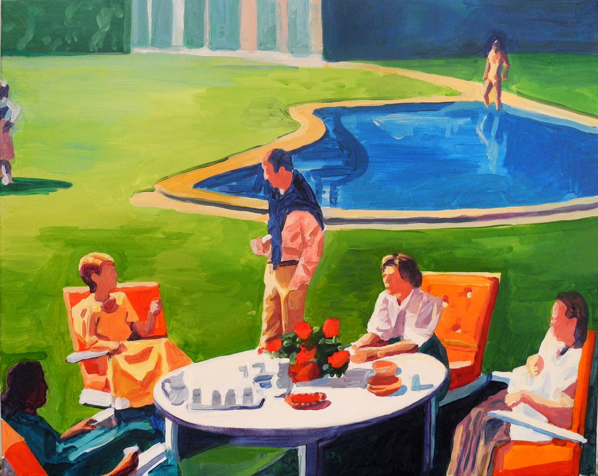 People sitting by a pool