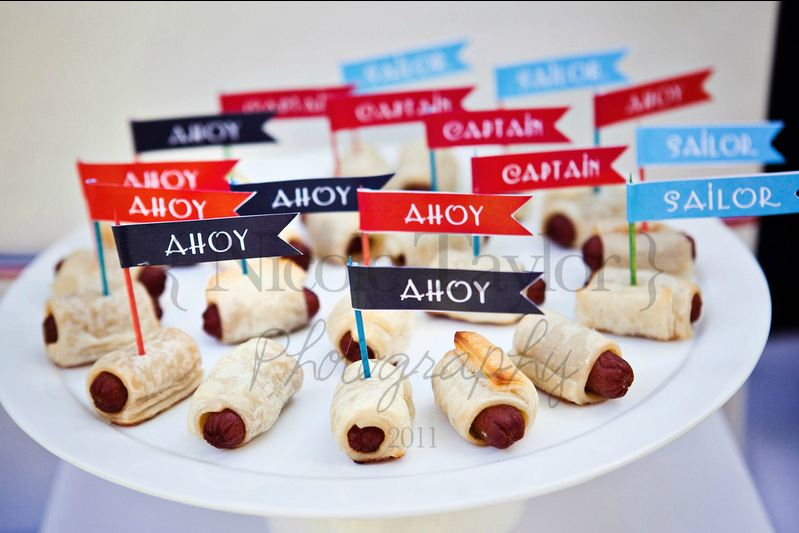 Nautical birthday parties parties ideas sausages rolls - Red white and blue party ideas ...