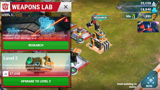 transformers earth wars weapons lab
