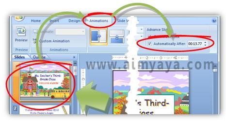 Gambar:  Cara mengatur waktu tayang / pergantian slide secara otomatis di powerpoint