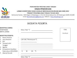 Formulir Pendaftaran Peserta dan Pendamping LKS SMK XXIV Provinsi Jateng 2015